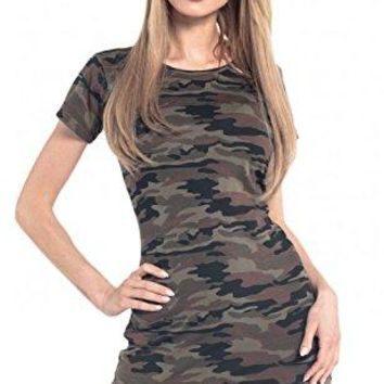 Glamour Empire Womens Shift Dress Camo Pattern Short Sleeves Crew Neck 196