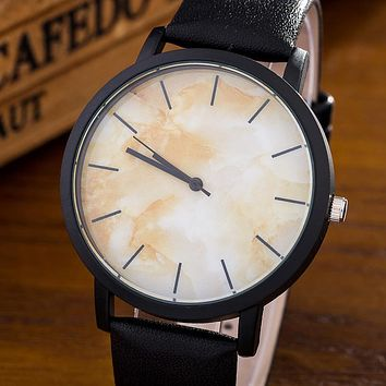 Marble Style Leather Quartz Casual Wrist watch