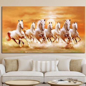 Seven Running White Horse Animals Painting Artistic Canvas Art Gold Posters and Prints Modern Wall Picture For Living Room