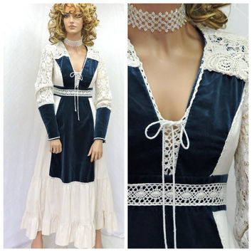 Vintage 70s renaissance dress S Gunne Sax cotton lace velvet corset boho maxi dress 1970s Jessica McClintock prairie dress SunnyBohoVintage