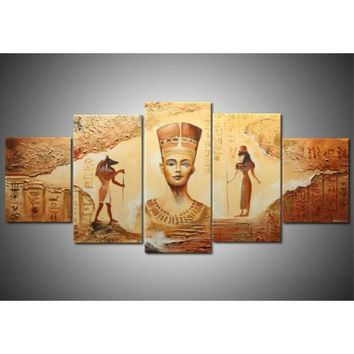 5 Piece Unframed Egyptian Contemporary Abstract Decorative Oil Painting On Canvas Wall Art Picture For Living Room Home Decor