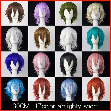 Cool HSIU 30cm short Wig Black white purple blue red  high temperature fiber Synthetic Wigs Costume Party Cosplay Wig  multi 17colorAT_93_12