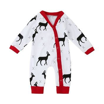 2018 Newest Cotton Baby Rompers For Newborn Unisex  Long Sleeve Clothes Animals Deer Printing Girls And Boys Chrismas Jumpsuit