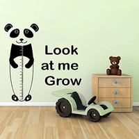 Wall Decals Quotes Vinyl Sticker Decal Quote Look at me Grow Stadiometer Panda Nursery Baby Room Kids Boys Girls Home Decor Bedroom Art Design Interior NS743