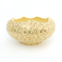 1940s Pioneer Pottery Scalloped Bowl with 22K Gold Leaf Flowers - Butter Yellow Cottage Chic