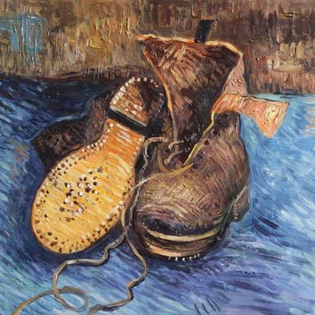 """VG28-A Pair of Shoes-Vincent van Gogh Repro Oil Painting on Canvas 20x24"""""""
