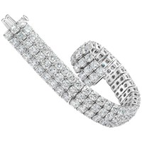 Gorgeous 44.30 Carat Cushion Cut Diamond Three Row Tennis Bracelet