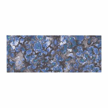 "Danii Pollehn ""Camouflage"" Blue Gray Watercolor Bed Runner"