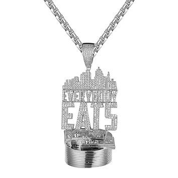 Mens Dollar Bills Everybody Eats Icy Hip Hop Pendant Free Box Chain