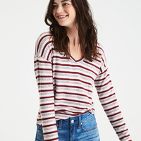 AE Soft & Sexy Plush Long-Sleeve Favorite T-Shirt, Burgundy