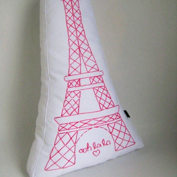 Embroidered Paris Pillow - Eiffel Tower