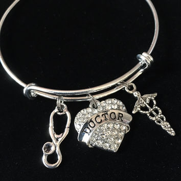 Doctor Heart with Caduceus Stethscope Silver Charm Bracelet Expandable Adjustable Bracelet