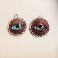 evil eye pendant - glass eye leather pendant - witch charm pendant - creepy jewelry - all seeing eye pendant - occult pendant