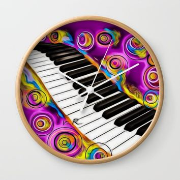 PIANO FLOWS Wall Clock by violajohnsonriley