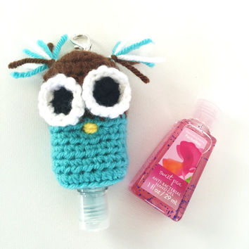 PocketBac Hand Sanitizer Holder/PocketBac Hand Sanitizer Owl Holder/PocketBac Hand Sanitizer Case/PocketBac -with split ring/clasp