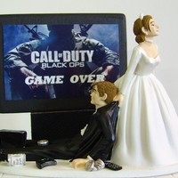 VIDEO GAME 'junkie' Groom Customized Wedding by awesometoppers