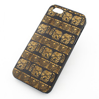 Black Bamboo Wood Case - Aztec Lotus Elephant