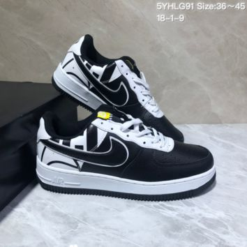 KUYOU N951 Nike Air Force 1 AF1 Low Fashion Urban Preppy Casual Skate Shoes White Black Yellow