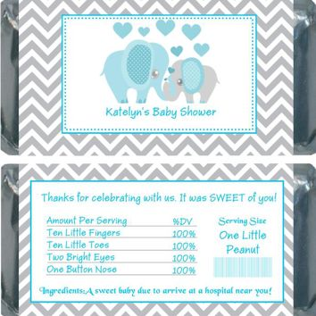 10 Blue Elephant Baby Shower Chocolate Bar Wrappers