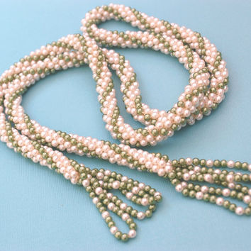 Vintage Beaded Tassel Necklace, White Green Imitation Pearls, Long Flapper Sautoir, 1960s Mad Men Costume Jewelry