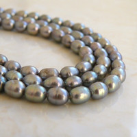 51% CLEARANCE Sale Silver Grey Freshwater Pearl Gemstone Oval Rice Center Drilled 6mm Full Strand 65 beads