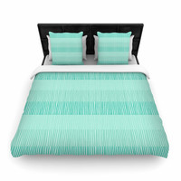 "Holly Helgeson ""Mod Grass"" Teal Lines Woven Duvet Cover"