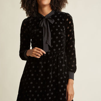 Velvet Burnout Shirt Dress with Neck Tie