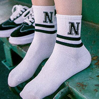 Simple 5Pcs Letter Socks Gift 01