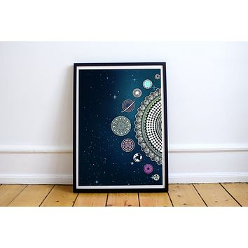 Reiki Charged Planets Dark Blue Poster Bohemian Art Print Poster With Mandala Galaxy Design no frame 20x30 Large