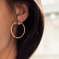 Contracted Joker Copper Smooth Circle Earrings