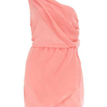 Pink one shoulder dress - Dresses - Clothing - Dorothy Perkins United States