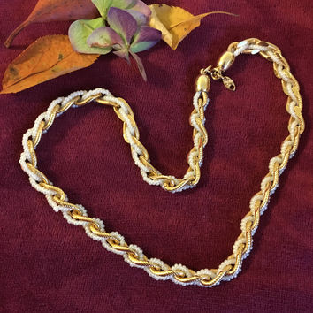 Gold and White Chain Necklace Trifari 1980's Twisted Faux Pearl and Chain Link Necklace Vintage Classic Rope Jewelry Signed Vintage Necklace