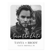 Elegant Retro Photo Frame Modern Save the Date Postcard