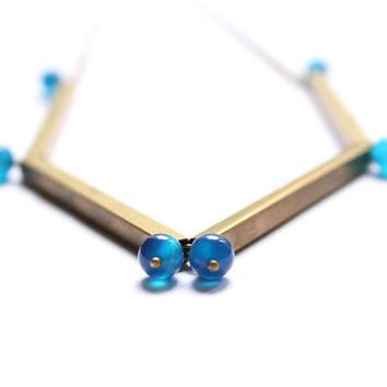 Necklace with Brass Tubes and Blue Agate Semiprecious Gemstones - Elegant Tubes