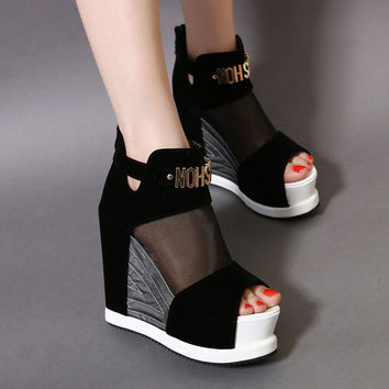 Stylish Water Proof Waterproof Wedge High Heel Sandals = 4805003780