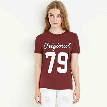 "Red Wine ""Original 79"" Number and Letter Print T-Shirt"