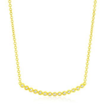 14K Yellow Gold Circle Link Curved Diamond Accented Necklace