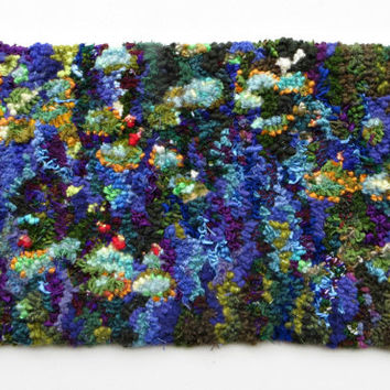 Memories of Monet, Hand Hooked Rug Tapestry Wall Hanging, Rug Hooking, Wool Hooked Rug, Modern Wall Art
