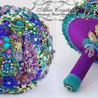 Peacock bouquet ,Purple Gold and Green peacock feather Wedding.Peacock brooch bouquet.