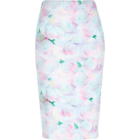 River Island Womens Pink floral print pencil skirt