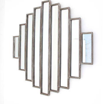 Rustic Multi Mirrored Wall Sculpture