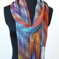 Bamboo and Tencel Handwoven Multi-color Scarf, Southwest Colors Scarf