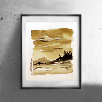 Neutral wall art Watercolor Landscape painting watercolor painting Landscape watercolor wall decor sepia