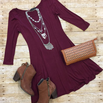We Both Know Tunic Dress: Burgundy