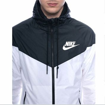 Fashion NIKE Hooded Zipper Cardigan Sweatshirt Jacket Coat Windbreaker Sportswear (6-color) Black white