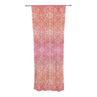 "Suzie Tremel ""Medallion Red Ombre"" Pink Decorative Sheer Curtain"