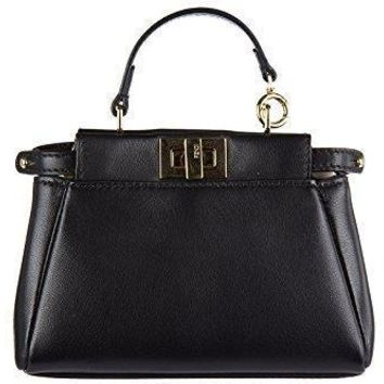 Fendi Women's Peekaboo Micro Satchel Bag Black + Gold