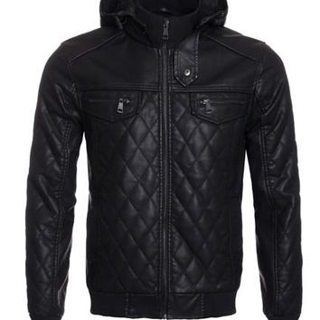 Faux Leather Quilted Jacket