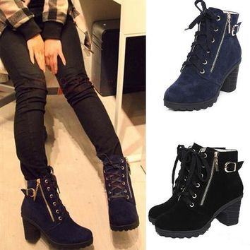 Black Blue Lace Up Zipper Lady Motorcycle High Heel Shoes Ankle Martin Boots [9432932874]