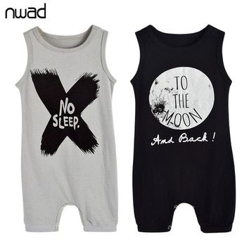 Baby Boys Rompers Summer Letter Sleeveless Romper Newborn Boy Cotton Clothing No Sleep Print Jumpsuits For Toddlers